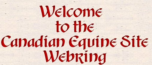 Welcom to the Canadian Equine Webring.   Horses, Canada, Canadian equine products, horse clubs, tack shops